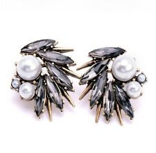 Pearl And Grey Stone Stud Statement Earrings