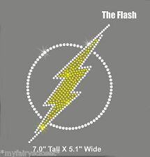 """7"""" tall clear THE FLASH iron on rhinestone transfer applique patch"""