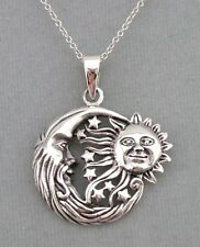 925 Sterling Silver Celestial Sun Moon Stars Pendant Necklace Jewelry NEW