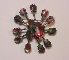 Vintage WEISS Silver Tone Watermelon Glass Rhinestone Abstract Pin Brooch BIG