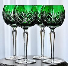 """4 Ajka Emerald Green Cased Cut to Clear Crystal Wine Balloon Goblets New 8.25"""""""