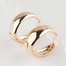 "Pretty 9k Yellow Gold Filled Smooth Shiny 3/4"" / 20mm Round Circle Hoop Earrings"