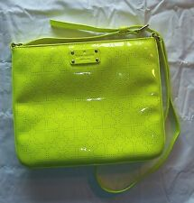 KATE SPADE NEW YORK NEON GREEN LEATHER CROSSBODY MESSENGER BAG