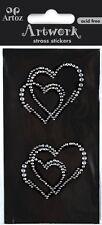 Artoz Artwork 3D-Sticker, Strass Doppelherzen, Hochzeit, Liebe