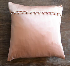 Ann Gish Rosebud Pink Silk Charmeuse Pillow with Crystal Buttons