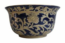 "Beautiful Navy and Gold Porcelain Tapestry Pattern Bowl 10"" Diameter"