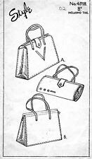 Style Vintage 1946 Sewing Pattern, Set of 2 Large Handbags, Repro Copy
