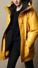 NWT Burberry Yellow Detachable Duck Down Rubberized Cotton 2-1 Rain Jacket Small