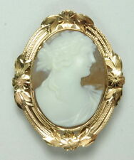 Antique 14K Rose Gold Victorian Woman Cameo Pendant Estate Brooch
