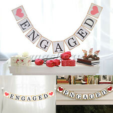 Paper Card Engaged Bunting Banner Garland Wedding Party Engagement Decor DIY