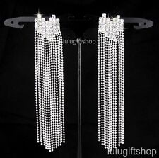WHITE GOLD PLATED HEART LONG DANGLE CHANDELIER EARRINGS USE SWAROVSKI CRYSTALS