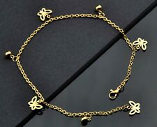 Fashion Butterfly Pendants gold plate Stainless Steel Anklet JL17