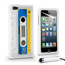 Retro Cassette Tape Blue And White Iphone SE 5S Case Rubber silicone case coque