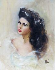 1959 OIL PORTRAIT PAINTING BRUNETTE w/ BEAUTY MARK ASIAN BRUSH SIGNED ILLEGIBLE