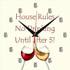 "Handmade ""House Rules No Drinking Until After 5"" novelty gift present wall clock"