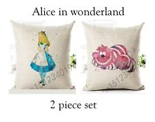 Pair Of alice in wonderland alice checter pink cat Cushion Covers case gift set