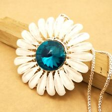 Fashion gold plating Crystal Sunflower sweater chain long necklace DD291