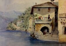 """Fine Watercolour , lake surrounded with homes and mountains. 10"""" x 14"""""""