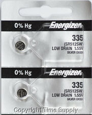 2 pcs 335 Energizer Watch Batteries SR512SW 512SW 0%HG
