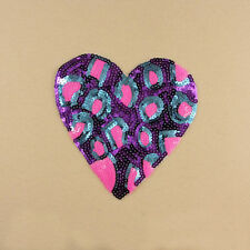 Embroidery Sew Iron on Patch Badge Purple Heart Sequin Dance Dress DIY Applique