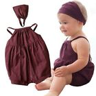 2pcs Baby Girls Kids Toddler Clothes Headbands + Romper Summer Outfit Sets
