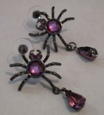 Earrings Spider Purple Black Rhinestone Dangle Drop Hypoallergenic Post NWT T99