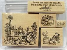 Stampin Up TIMES AND SEASONS wood mount stamps Tractor Harvest Father's Day