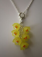 Ladies 17 inch Daffodil Cluster Necklace, Silver Plated - Yellow Flowers