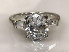 Moissanite Forever Brilliant 3.00ct. Oval  Engagement Ring 14k White Gold  #4855