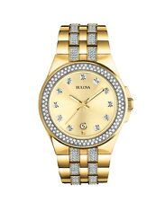 New Bulova 98B174 Gold Tone Stainless Steel Swarovski Crystal Men's Watch