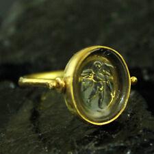Hammerede Designer Venetian Glass Intaglio Ring 22K Gold over Sterling Silver
