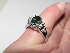 GENUINE INDIAN OCEAN APATITE RING SIZE 5 OR 8 IN PLATINUM /STS