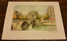 Charles Blondin Original 1950's Signed Le Pont Fontaine Michel Paris Print 8/500