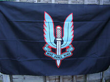 SPECIAL AIR SERVICE -SAS Famous Winged Dagger Beret Badge On Black Military Flag