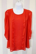 OASIS Coral-Red Ruffle bib Tie Keyhole Back Blouse Office Chic 10 12