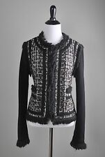 TORY BURCH $595 Wool Woven Fringe Trim Hook Closure Jacket Top Size 10