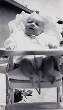 Antique Vintage Photograph Adorable Baby in High Chair Antique Camera on Ground