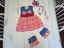 girls toddler children ruffle dress pants 4th of july outfit necklace star sz 5t