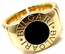 Authentic! Bvlgari Bulgari Tubogas 18k Yellow Gold Black Onyx Band Ring Size 6