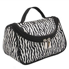 Classic Zebra Travel Makeup Cosmetic Toiletry Organizer Handbag Zipper Bag Cases