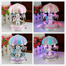 Kids Girl Boy LED Horse Carousel Music Box Toy Clockwork Musical Christmas Gifts