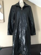 Vintage Olly London Black 100% Real Leather Long Jacket Coat Mac Size 14 12 Goth