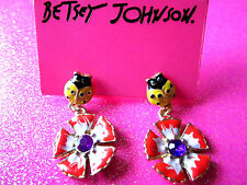 Betsey Johnson Lady Bug & Flower Dangle Earrings