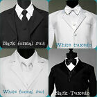 RING BEARER PARTY BOY 5 pc set TUXEDO AND FORMAL SUIT IN WHITE OR BLACK COLOR