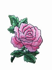 """#3720P 3-1/2"""" Pink Rose Flower Embroidery Iron On Applique Patch"""