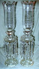 Beautiful Antique Pair of Tall Baccarat Crystal Hurricane Lamps with Pendants