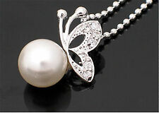 Silver and pearl butterfly necklace, Super cute