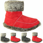 LADIES SLIPPER ANKLE BOOTS WOMENS SLIPPERS WINTER SOFT WARM FUR BOOTIES 3-8 UK