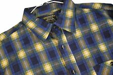 MENS XL VTG JcPenney Plaid Flannel Shirt Button Up Lumberjack Blue SHADOW Cotton