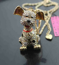 A559     Betsey Johnson Crystal Enamel Puppy Pendant Necklaces